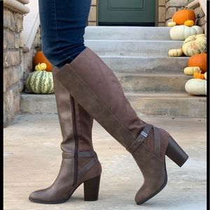 Taupe Faux Leather Faux Suede Knee High Boot